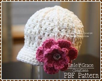Crochet Newsboy Hat Pattern, Ribbed Flower Cap, EMILY - pdf 208