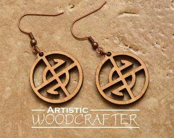 Wooden Geometric Circle Earrings (Cherry)