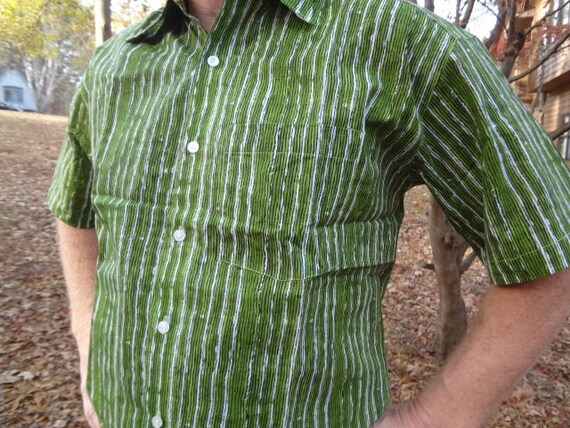 Men's Handmade Block Print Long Sleeve Button Down Indian Cotton Shirt - Lavender Olive Floral on White - Aymeric I938 bjgZ5fPtO