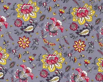 Quilting cotton fabric by the yard, 100% cotton gray floral fabric by fabric designer Paula Prass. Need more fabric yardage? Just ask.