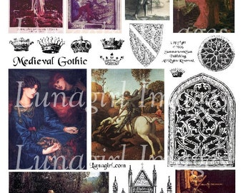 MEDIEVAL GOTHIC digital collage sheet, vintage images, Victorian art, crowns, Joan of Arc paintings, fantasy women altered ephemera DOWNLOAD