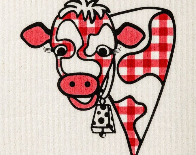 Red Gingham Cow Swedish Cloth