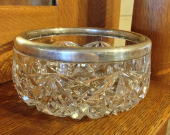 Antique Cut Glass Bowl with Sterling Silver Rim