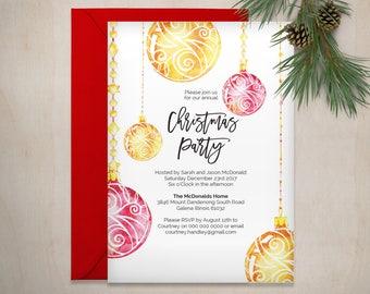 Christmas Invitation Printable, Christmas Bauble Invitation Template, Instant Download, Christmas Party Invitation, WLP533