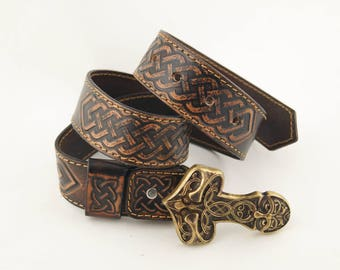 Mjolnir Pagan handmade stamped tooled genuine leather belt with Brass Buckle