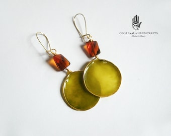 Green Translucent Polymer Clay Dangle Earrings