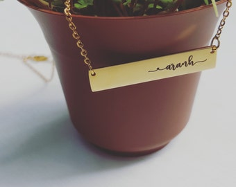 Dainty Bar Necklace Best Friend Gift Custom Name Necklace Rose Gold Silver Minimalist Engraved Bridesmaid Gift from Bride Mother in Law Gift