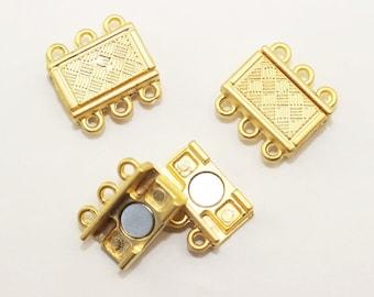 10 Sets Gold Plated 3 Holes Multi Strand, Brazil Bracelet Multi Strand clasp, 16,5mm, 3 holes magnetic clasp, large clasp, MCH3