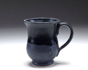 Handmade ceramic tea cup/ dark grey black/ matte glaze/ small coffee mug/ wheel thrown/ porcelain coffee mug/ Gabriel Kline pottery
