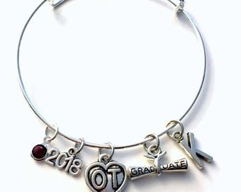 Graduation Gift for OT Bracelet, 2018 2019 Occupational Therapist Jewelry Student Grad Silver Bangle Therapy initial birthstone letter heart