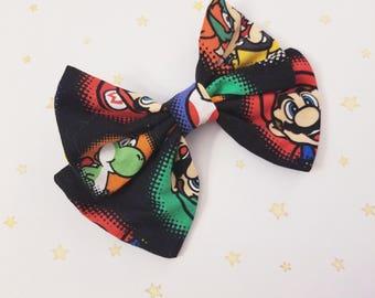 Kawaii Mario Hair Bow Clip - Fairy Kei Decora Pastel Goth Harajuku inspired