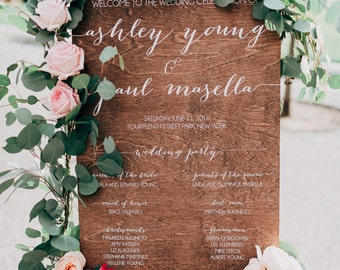 Wedding Program Sign - Ceremony Sign - Wedding Party Sign - Wooden Wedding Signs - Wood