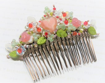 Hearts and Flowers, Bejeweled Hair Ornament in Valentine Colors, Quality French Hair Comb, Pink Hearts Hair Accessory