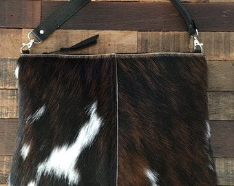 Mid Size Hair on Hide Leather Convertible Crossbody Bag or Clutch