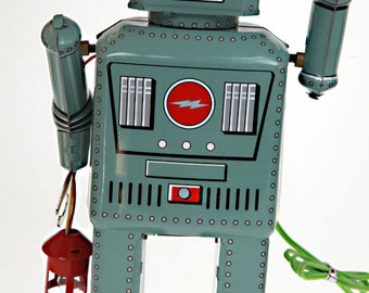Lantern Robot Tin Toy with Wired Remote and Smoke Effect
