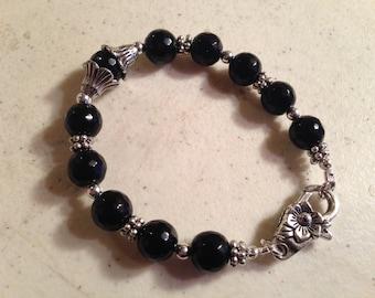 Black Bracelet - Black Jewelry - Silver Jewelry - Beaded Jewellery - Black and Silver - Fashion - Trendy