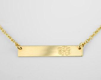 Personalized Monogram Necklace, horizontal bar Necklace, Name bar Necklace, Bridesmaid Necklace, Birthday Gift for women, monogram jewelry