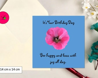 Pink flower and bumble bee photo, square birthday card, photographic greeting card.