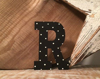 Hand-painted Wooden Letter R, Wall Letter, 9mm thick - Rockwell Font - Various sizes, finishes and colours