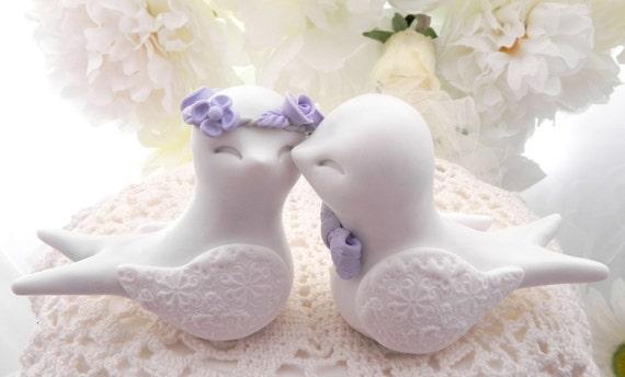 Swallowtail Love Bird Wedding Cake Topper, White and Lilac Purple , Bride and Groom Keepsake, Fully Custom