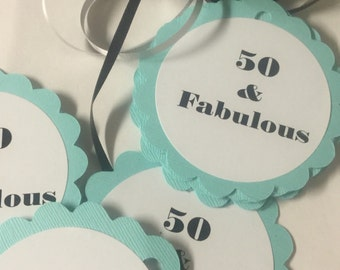 50th Birthday Favor Tags Choose Your Colors and Text