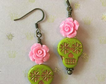 Lime Green Day of the Dead Earrings