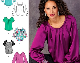 Simplicity Sewing Pattern 1315 Misses' Pullover Blouse With Sleeve and Trim Variations