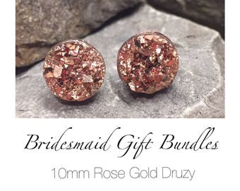Bridesmaid Druzy Earrings - Rose Gold - 10mm