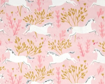 Magic Metallic Unicorn Forest Blossom Color ~ Designed by Sarah Jane for Michael Miller Fabrics, lightweight quilting cotton fabric