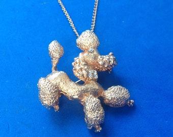 """Jaunty vintage gold tone rhinestone poodle pin pendant 17"""" necklace."""