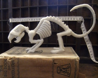 Sewn Bone – Rat Skeleton. Faux Taxidermy, Vegetarian Ornament, Quirky Gifts, Weird Stuff, Curiosities and Oddities