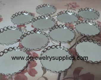 25mm silvertone closed back lace edge cup settings 12 pcs lot l