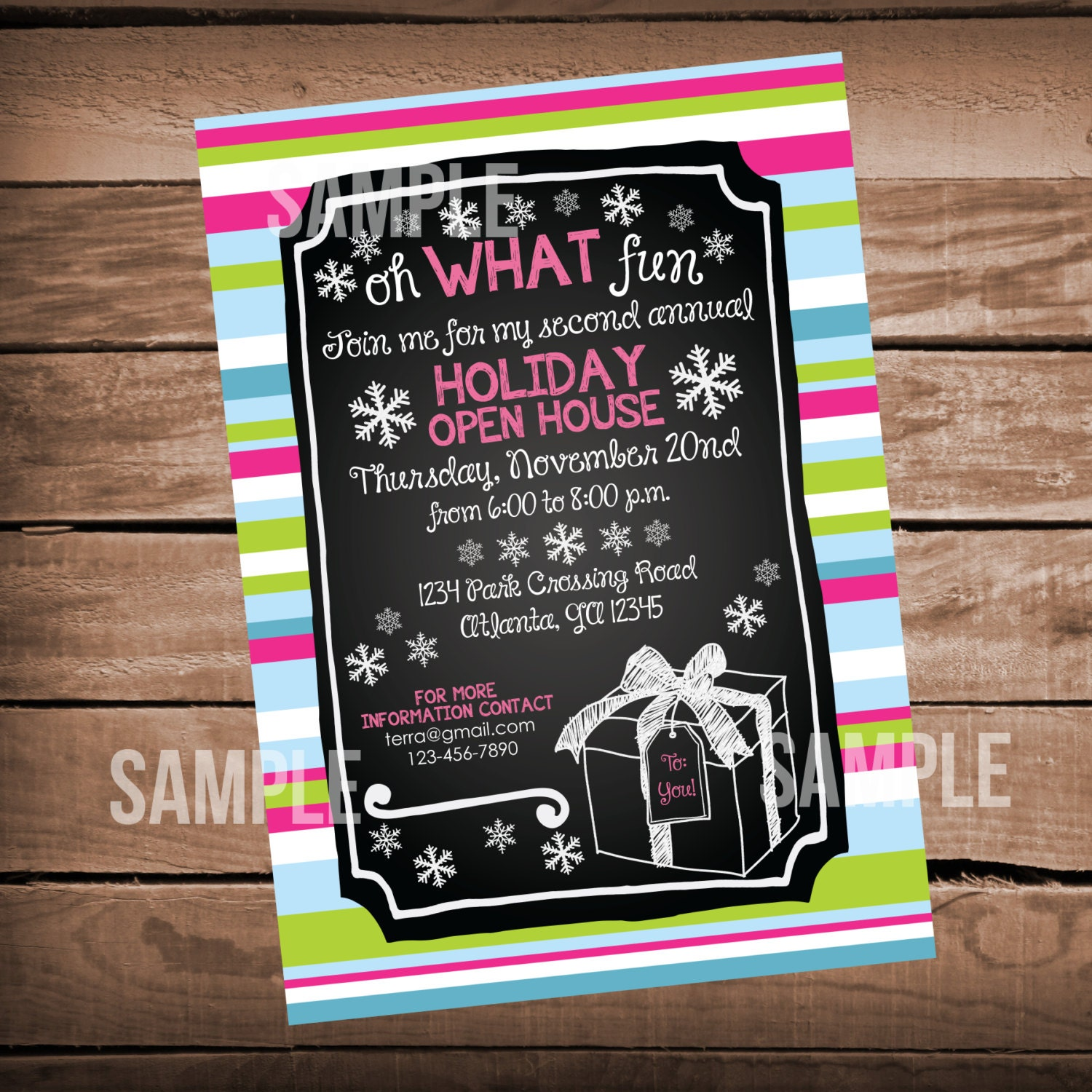 Christmas Party Invitation Open House DIrty Santa Pink