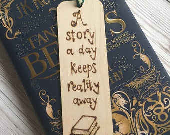 Wooden Bookmark, Pyrography, Woodburned, Quote, Handburned, A story a day keeps reality away, Readers Gift, Book Lovers Gift, Bookworm