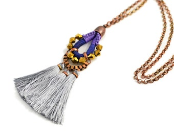 Tassel Necklace, Long Necklace, Blue Pendant, Boho Tassel Pendant, Hippie Necklace, Aztec Style Necklace, Long Necklace with Charm