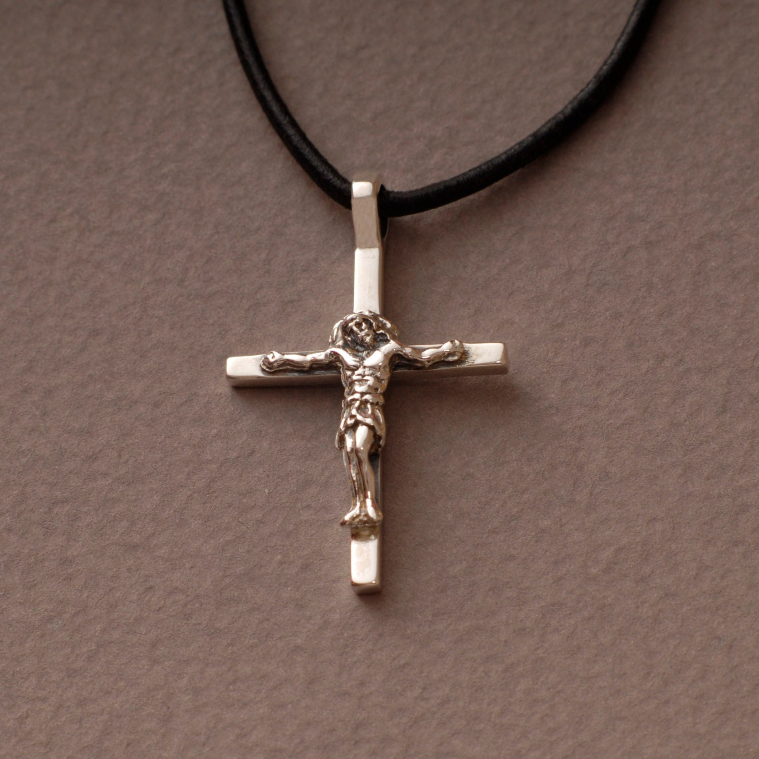 necklace pendant tubular catholic gold cross charm crucifix yellow