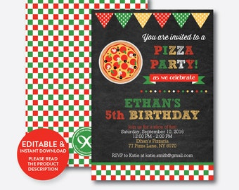 Instant Download, Editable Pizza Birthday Invitation, Pizza Invitation, Pizza Party Invitation, Chef Party Invitation, Chalkboard (CKB.86)