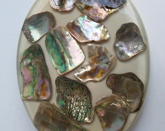 Design Gifts Oval Acrylic Trivet with Embedded Abalone Shell Pieces