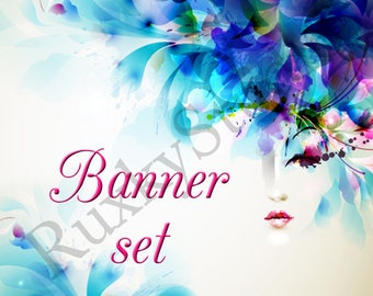 Shop Banner Set shop icon,cover/banner,avatar/profile picture -watercolor,blue,flowers,girl