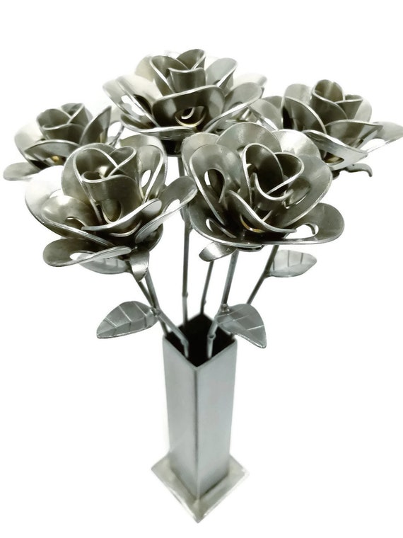 Six Metal Steel Forever Roses and Vase created by Welding Scrap Metal Steampunk Style making unique gifts and Modern Rustic home decor.