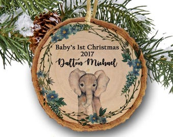 Baby's first Christmas ornament,Christmas ornament,Personalized Christmas ornament,Baby's first Christmas, elephant, woodland, tree slice
