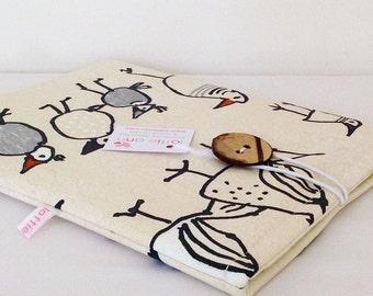 iPad Cover, Charcoal Birds iPad Cover, Birds iPad Sleeve, iPad Pouch, Fabric iPad Cover, Fabric iPad Sleeve, Tablet Cover, Tablet Sleeve