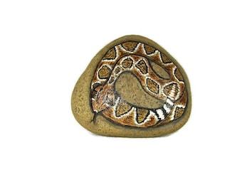 Rattlesnake hand painted rock, stone, yard art, garden art, rock art, RocksOK painted rocks