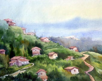 Mornig Mounain Village - Original watercolor painting on paper