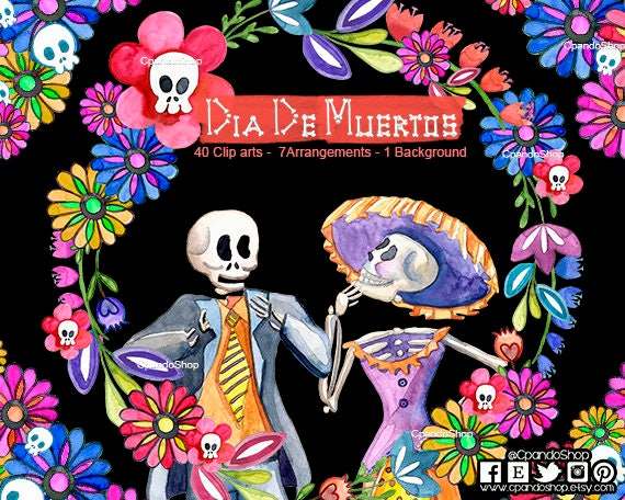 DIA De Los MUERTOS Digital Clipart Instant Download Illustration Halloween Skull Day Dead Catrina Mariachi Mexican Folk Art Bird Stock From CpandoShop