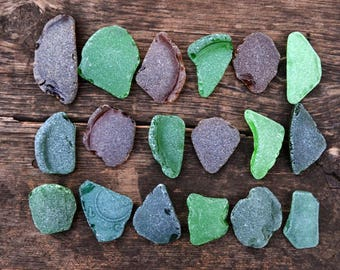 18 Large to medium Natural Beach Glass Big Sea glass Genuine Seaglass Surf Tumbled Sea glass for Stained craft Colored Mix Seaglass for sale