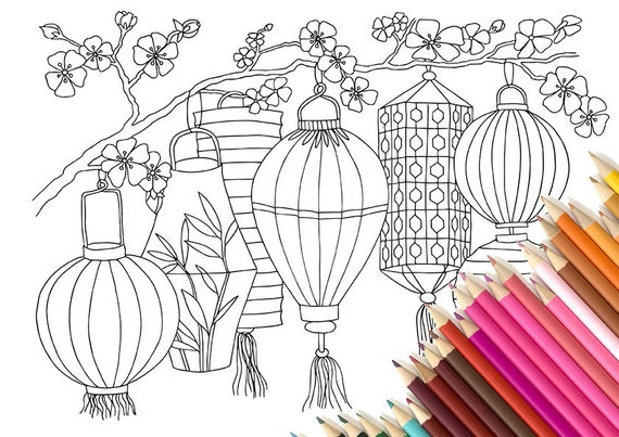 Adult Colouring Page Chinese Lanterns