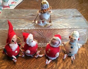 Spun Cotton Body Vintage Santa Snowman Skiers Lot