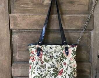 Vintage 90's Floral and Ladybug Tapestry Top Handle Purse