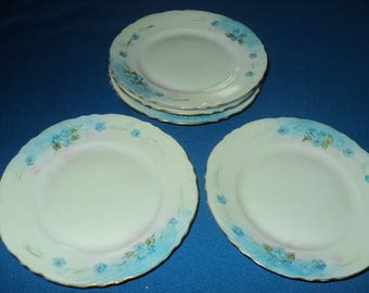 Vintage Fraureuth Fine China--Set of Five--Flowered Blue-- Bread and Butter Plates